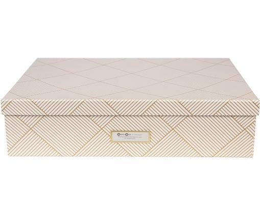 Scatola con coperchio Jakob, Scatola: solido, cartone laminato, Dorato, bianco, Larg. 43 x Alt. 11 cm