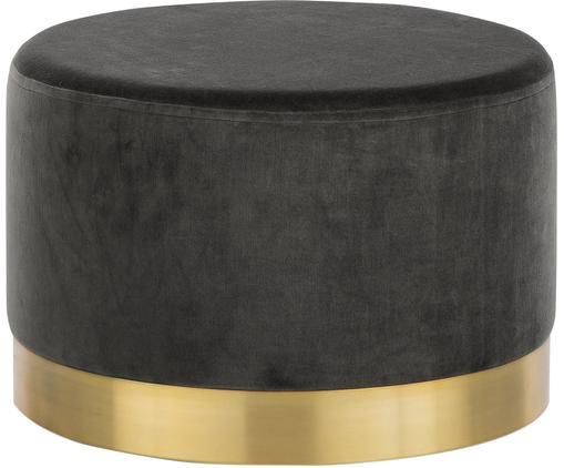 Samt-Hocker Harlow, Bezug: Baumwollsamt, Fuß: Eisen, pulverbeschichtet, Grau, Goldfarben, ∅ 60 x H 40 cm
