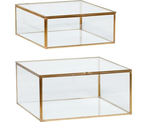 Set 2 scatole Karie, Cornice: ottone, Scatola: vetro, Ottone trasparente, Diverse dimensioni