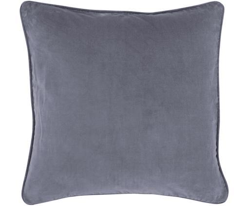 Funda de cojín de terciopelo Dana, Terciopelo de algodón, Gris, An 40 x L 40 cm