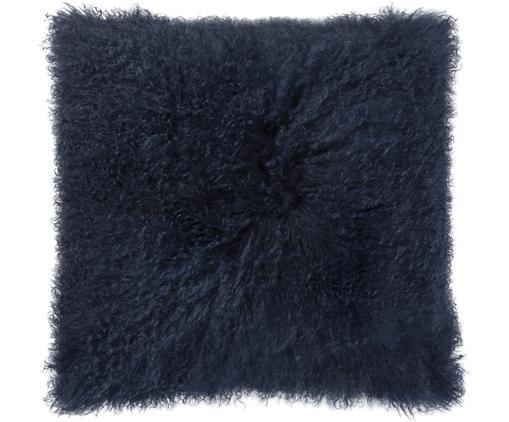 Cuscino in  pelliccia di pecora a pelo lungo Curly, Retro: velluto di cotone, Blu scuro, P 50 x L 50 cm