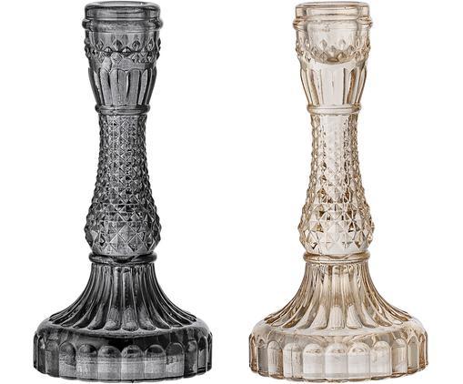 Komplet świeczników Joana, 2elem., Szkło, Szary, beżowy, lekko transparentny, Ø 9 x W 17 cm