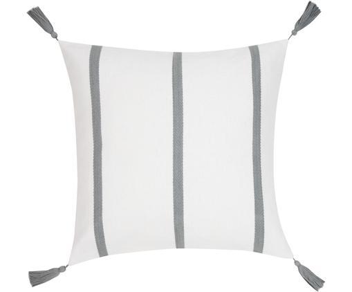 Federa arredo  Joe, 100% cotone, Bianco crema, grigio, Larg. 50 x Lung. 50 cm