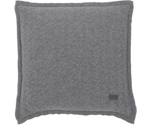 Strick-Kissenhülle Fishbone aus weichem Woll-Mix mit Fischgrätmuster, 80% Wolle, 20% Polyamid, Hellgrau, 50 x 50 cm