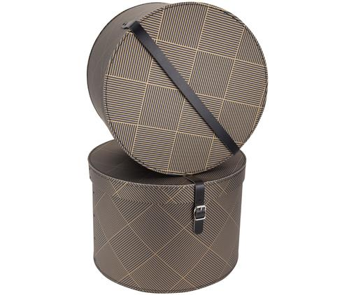 Set scatole Rut, 2 pz., Scatola: solido, cartone laminato, Manico: pelle, metallo, Dorato, grigio scuro, Diverse dimensioni