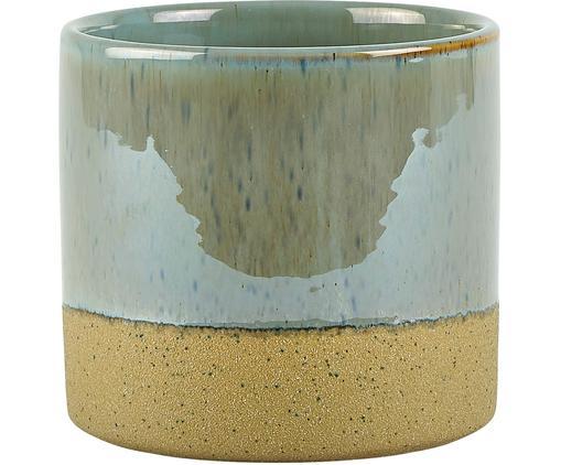 Übertopf Neptune, Keramik, Oben: GraublauUnten: Beige, Ø 14 x H 13 cm