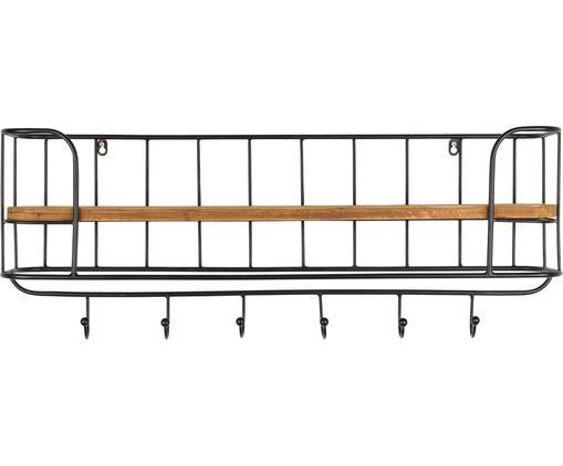 Półka ścienna  z haczykami Stack, Stelaż: metal lakierowany, Stelaż: czarny Półka: brązowy, S 85 x W 32 cm