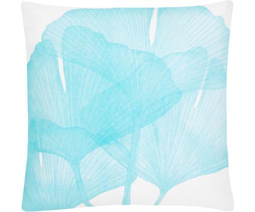 Kissenhülle Ginko, 100% Baumwolle, Weiß, Blau, 45 x 45 cm