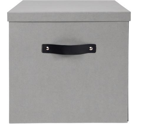 Scatola Texas, Scatola: solido, cartone laminato, Manico: pelle, Grigio chiaro, Larg. 32 x Alt. 32 cm