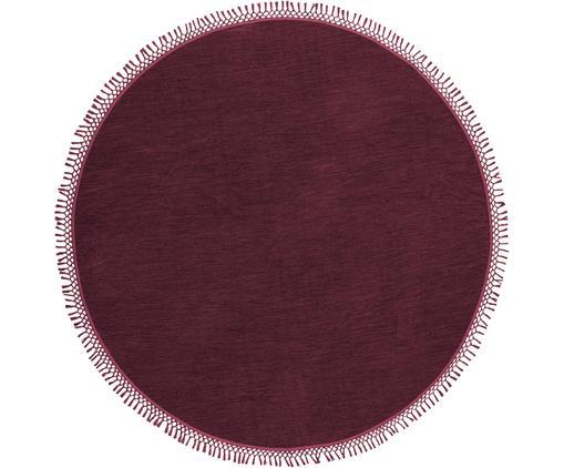 Runder Teppich Sibi mit Fransen, Baumwolle, Weinrot, Ø 200 cm (Größe L)