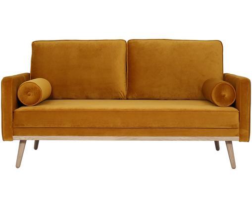 Sofa z aksamitu Saint (2-osobowa), Tapicerka: aksamit (poliester) 3500, Stelaż: lite drewno sosnowe, płyt, Aksamitny musztardowy, S 169 x G 87 cm
