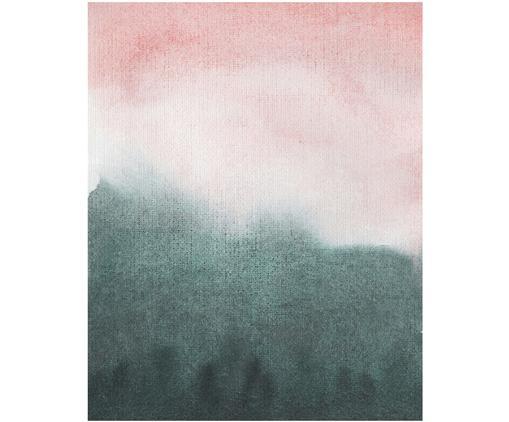 Leinwanddruck Mountain Morning, Digital bedruckte Leinwand (300 g/m²) auf Holzkeilrahmen, Rosa- und Grüntöne, 80 x 100 cm
