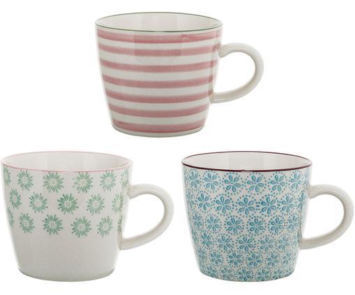 Ensemble de tasses Patrizia, 3élém., Blanc, vert, bleu, rouge