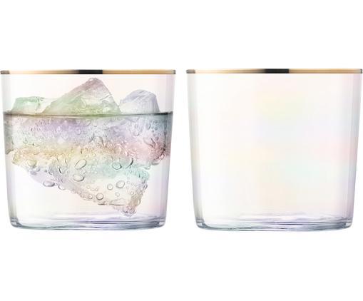 Bicchiere acqua  in vetro soffiato Sorbet 2 pz, Vetro, Trasparente, dorato, Ø 8 x Alt. 7 cm
