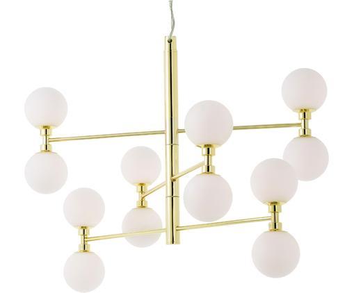 Lampada a sospensione con sfere di vetro Grover, Baldacchino: metallo, Paralume: vetro, Dorato, Ø 70 x Alt. 56 cm