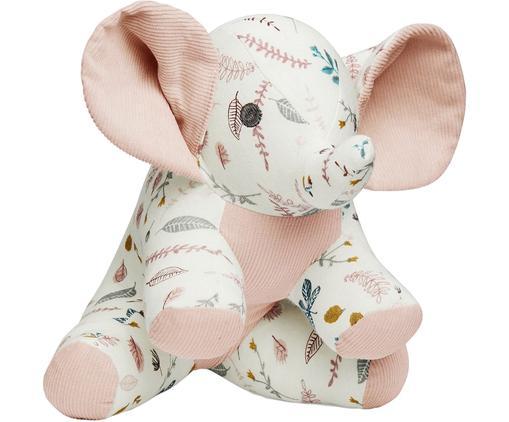 Kuscheltier Elephant aus Bio-Baumwolle, Bezug: Bio-Baumwolle, OCS-zertif, Weiß, Rosatöne, Gelb, 20 x 21 cm