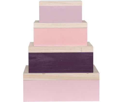 Set scatole Lily, 4 pz., Legno di Paulownia, Marrone chiaro, viola, rosa, Diverse dimensioni