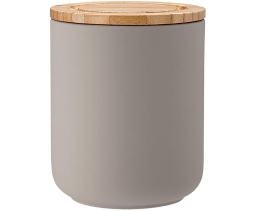 Contenitore con coperchio Stak, Contenitore: ceramica, Coperchio: legno di bambù, Grigio pietra, bambù, Ø 10 x Alt. 13 cm