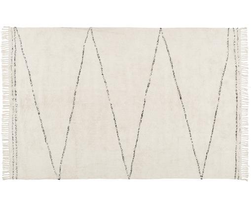 Ručně všívaný bavlněný koberec Asisa, Béžová, černá