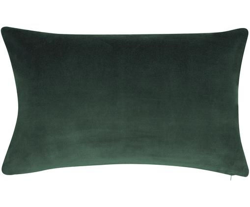 Federa arredo in velluto in verde smeraldo Alyson, Velluto di cotone, Verde smeraldo, Larg. 30 x Lung. 50 cm