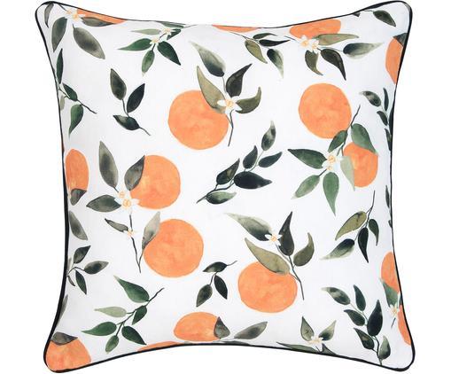 Housse de coussin en coton Larangina, Blanc, vert, orange Bordure passepoilée: gris foncé
