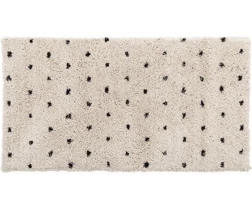 Flauschiger Hochflor-Teppich Ayana, gepunktet, Flor: 100% Polyester, Beige, Schwarz, B 80 x L 150 cm (Größe XS)