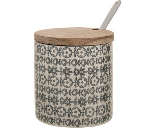 Contenitore con coperchio Karine 3 pz, Coperchio: legno d'acacia, Bianco latte, grigio, Ø 11 x Alt. 12 cm
