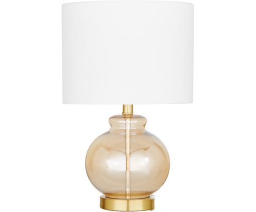 Lampada da tavolo Natty, Paralume: tessuto, Base della lampada: vetro, ottone spazzolato, Bianco, ambra, trasparente, Ø 31 x Alt. 48 cm