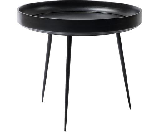 Kleiner Design-Couchtisch Bowl Table aus Mangoholz, Tischplatte: Mangoholz, gebeizt und kl, Beine: Stahl, pulverbeschichtet, Schwarz, Ø 53 x H 46 cm