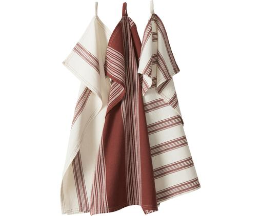 Set canovacci Abigail, 3 pz., 80% cotone 20% lino, Bianco, rosso scuro, Larg. 70 x Lung. 50 cm