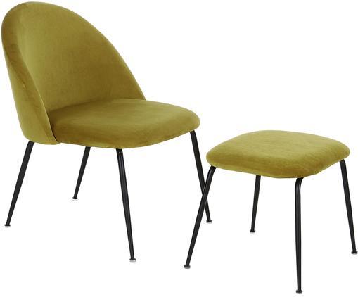 Set sillón de terciopelo Villum, 2pzas., Tapizado: terciopelo (poliéster) Re, Patas: metal recubierto, Tapizado: terciopelo (poliéster) Re, Patas: metal recubierto, Ámbar, negro, Tamaños diferentes