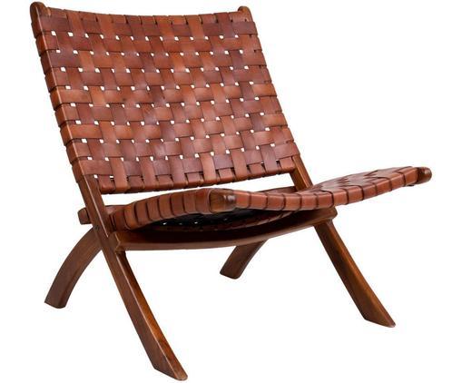 Sillón Montana, Tapizado: cuero, Patas: madera de teca, Marrón, An 74 x F 66 cm