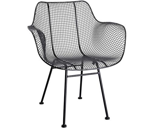 Schwarzer Metall-Stuhl Tide, Metall, lackiert, Schwarz, B 70 x T 62 cm