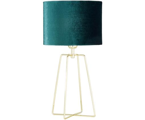 Lampada da tavolo Karolina, Paralume: velluto, Base della lampada: metallo ottonato, Paralume: verde scuro Base della lampada: ottone lucido Cavo: trasparente, Ø 25 x Alt. 49 cm