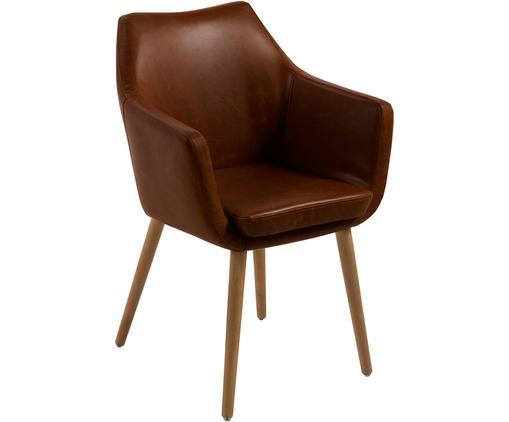 Krzesło z podłokietnikami Nora, Tapicerka: sztuczna skóra (poliureta, Nogi: drewno dębowe, Tapicerka: brązowy Nogi: drewno dębowe, S 58 x W 84 cm