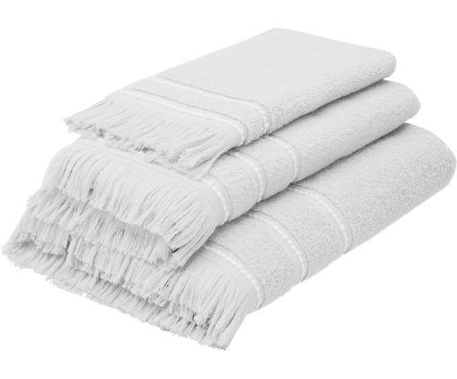 Set 3 asciugamani con bordo ricamato  Britta, Grigio/bianco, Diverse dimensioni