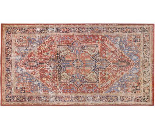 Chenilleteppich Paulo im Vintage Style, Vorderseite: Chenillegarn (Polyester), Rückseite: 75%Polybaumwolle, 25%Po, Rot, Blau, Beige, B 80 x L 150 cm (Größe XS)