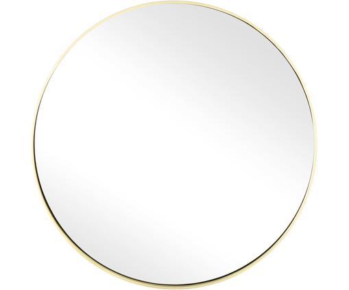 Runder Wandspiegel Ada mit Goldrahmen, Rahmen: Eisen, vermessingt, Spiegelfläche: Spiegelglas, Messing, gebürstet, Ø 40 cm