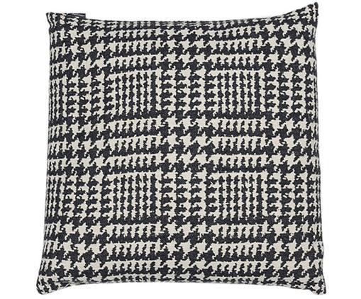 Kissen Glencheck mit Hahnentritt Muster, mit Inlett, Bezug: 85% Baumwolle, 8% Viskose, Schwarz, Weiß, 50 x 50 cm
