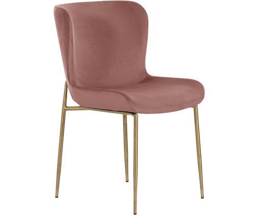 Chaise rembourrée en velours Tess, Velours vieux rose, pieds or