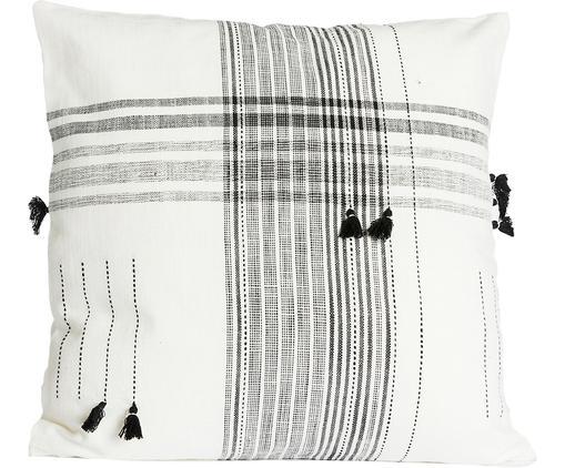 Kissenhülle Sasel, Baumwolle, Weiß, Schwarz, 45 x 45 cm