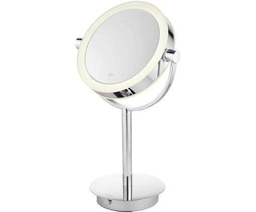 LED Kosmetikspiegel Sia mit Vergrößerung, Edelstahl hochglanzverchromt, Spiegelglas, Chrom, Ø 19 x H 43 cm