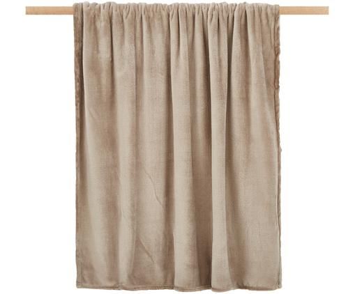 Weiches Fleece-Plaid Doudou in Taupe, 100% Polyester, Taupe, 130 x 160 cm