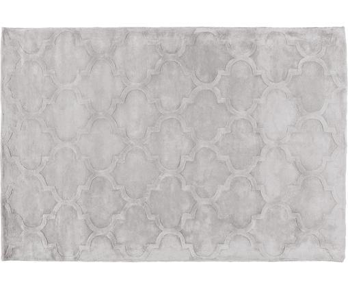 Alfombra artesanal de viscosa Magali, Parte superior: 100%viscosa, Reverso: 100%algodón, Gris claro, An 120 x L 180 cm (Tamaño S)