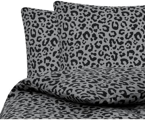 Perkal-Bettwäsche Leopard, Webart: Perkal, Grau, Schwarz, 240 x 220 cm