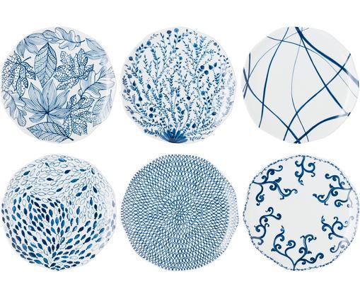 Ensemble d'assiettes plates Vassoio, 6élém., Bleu, blanc