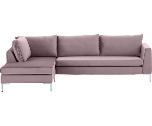 Samt-Ecksofa Luna, Bezug: Samt (Polyester) 80.000 S, Gestell: Massives Buchenholz, Füße: Metall, galvanisiert, Altrosa, B 280 x T 184 cm