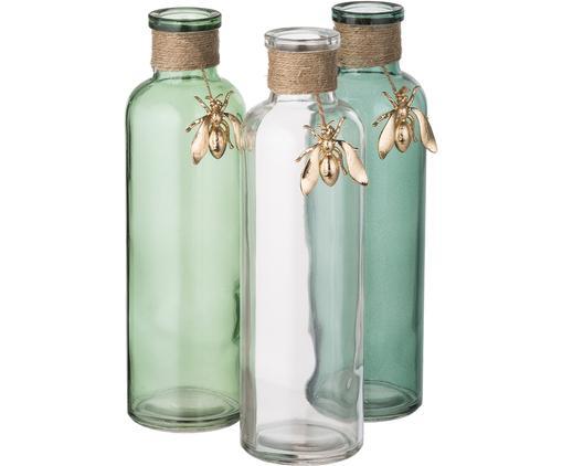 Komplet wazonów Bee, 3 elem., Zielony, transparentny