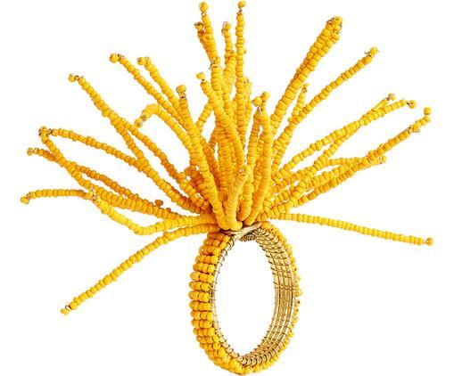 Serviettenring Aegean, Messing, Perlen aus Kokosholz, Gelb, Ø 4 cm