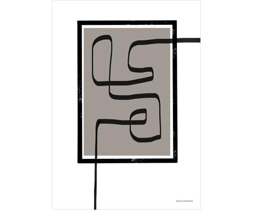Poster Square, Grège, noir, blanc